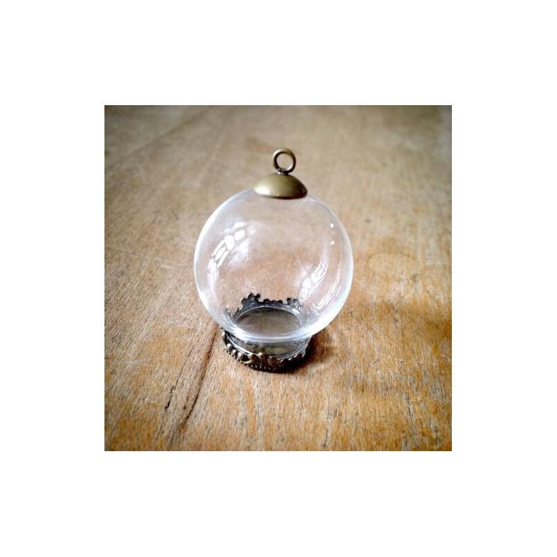 Support Globe en Verre avec Socle et Attache Bronze 20x15mm