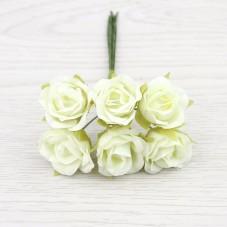 6 Tiges de Fleur Rose Ivoire 2-3cm