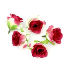 2 Têtes de Fleur Rose Rouge 3-4cm