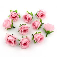 2 Têtes de Fleur Rose Rose 3-4cm