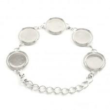 Support Bracelet Argenté pour Cabochon 18mm pour la Création de Bijoux Fantaisie - DIY