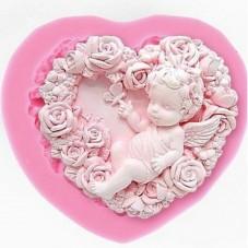 Moule en Silicone Ange Coeur Fleuri Moule en Silicone Bébé en 3D à Décorer Fimo Résine Gâteau Savon Bougie