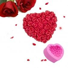 Moule en Silicone Cœur en Fleur Roses Fimo Savon Gâteau Bougie