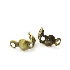 100 Cache-Noeud Fermoirs Embouts Bronze 7.5x4mm pour la Création de Bijoux Fantaisie - DIY