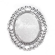 Support Pendentif Connecteur Argenté pour Cabochon 30x40mm pour la Création de Bijoux Fantaisie - DIY