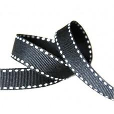 1 Mètre de Ruban Noir et Blanc Gros Grain 10mm pour la Création de Bijoux Fantaisie - DIY