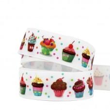 1 Mètre de Ruban Gros Grain Cupcake Gâteau 25mm pour la Création de Bijoux Fantaisie - DIY