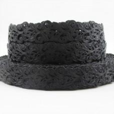 1 Mètre de Ruban Gros Grain Style Dentelle Florale Noir 22mm pour la Création de Bijoux Fantaisie - DIY