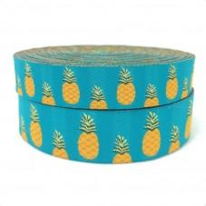 1 Mètre de Ruban Tissé Jacquard Ananas 22mm