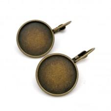 1 Paire de Support Boucle d'Oreille Dormeuse Bronze pour Cabochon 18mm