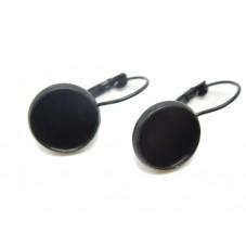 1 Paire de Support Boucle d'Oreille Dormeuse Noire pour Cabochon 12mm