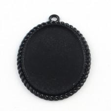 Support Pendentif Noir pour Cabochon 30x40mm pour la Création de Bijoux Fantaisie - DIY