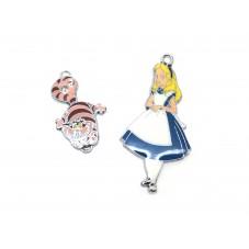 2 Breloques Alice au Pays des Merveilles Email Strass pour la Création de Bijoux Fantaisie - DIY