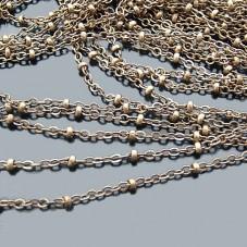 1 Mètre de Chaine Fine 1,5mm avec Perles Bronze pour la Création de Bijoux Fantaisie - DIY