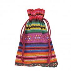 Pochette en Coton Lien Coulissant Motif Ethnique 10x14cm pour la Création de Bijoux Fantaisie - DIY