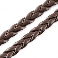 1 Mètre de Cordon Cuir Véritable Tressé Chocolat 5mm pour la Création de Bijoux Fantaisie - DIY