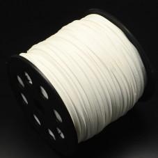 1 Mètre de Cordon Suédine Effet Cuir Blanc 3mm pour la Création de Bijoux Fantaisie - DIY