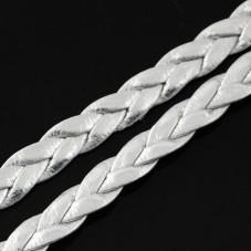 1 Mètre de Cordon Cuir Véritable Tressé Argenté 5mm pour la Création de Bijoux Fantaisie - DIY