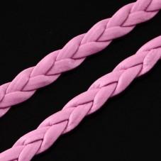 1 Mètre de Cordon Cuir Véritable Tressé Rose Clair 5mm pour la Création de Bijoux Fantaisie - DIY
