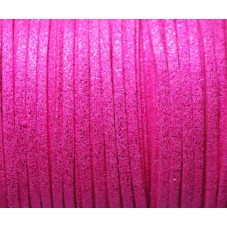 1 Mètre de Cordon Suédine Pailleté Fuchsia 3mm pour la Création de Bijoux Fantaisie - DIY