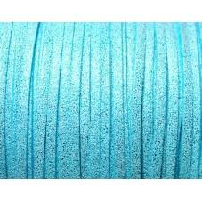 1 Mètre de Cordon Suédine Pailleté Bleu Turquoise 3mm pour la Création de Bijoux Fantaisie - DIY