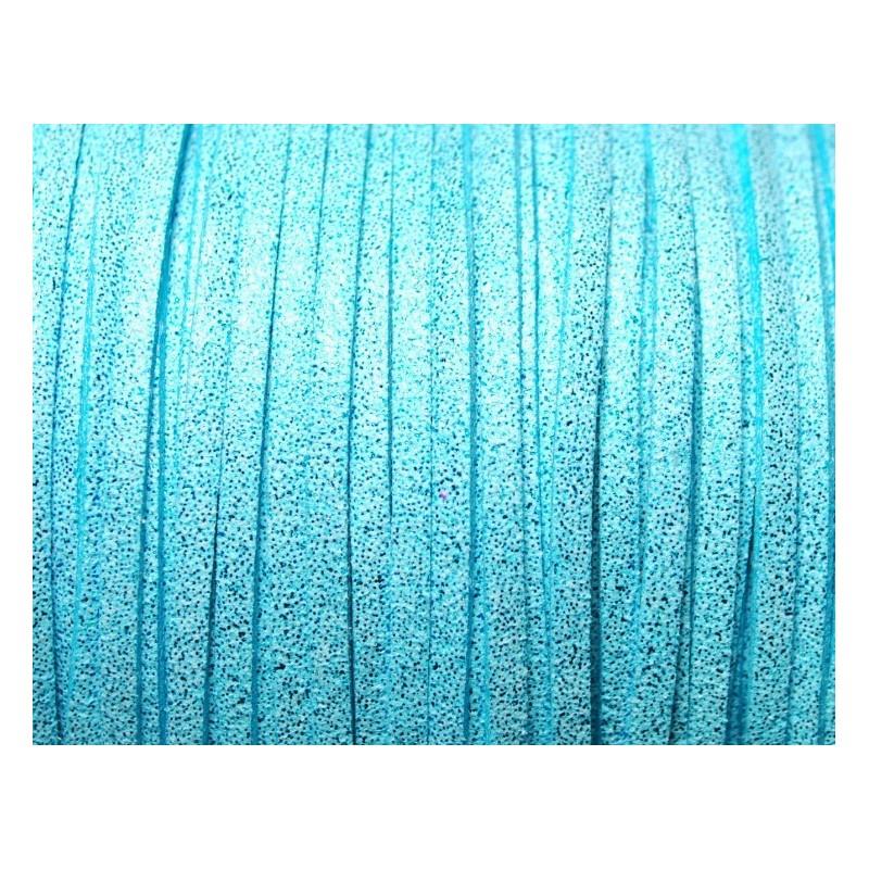 1 Mètre de Cordon Suédine Pailleté Bleu Turquoise 3mm