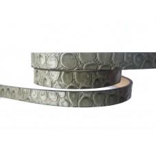 1 Mètre de Cordon Plat en Cuir Véritable Gris Brillant 10x2mm pour la Création de Bijoux Fantaisie - DIY
