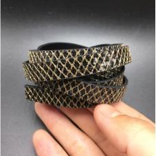1 Mètre de Cordon Plat en Cuir Véritable Noir et Doré 10x2mm pour la Création de Bijoux Fantaisie - DIY
