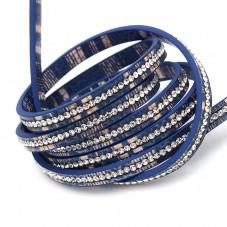 1 Mètre de Cordon Imitation Cuir Strass Bleu 6,5mm pour la Création de Bijoux Fantaisie - DIY