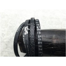 1 Mètre de Cordon Plat en Cuir Véritable Noir Écriture Argentée 5x2mm pour la Création de Bijoux Fantaisie - DIY