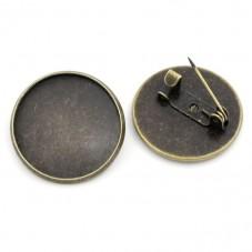 Support Broche Bronze pour Cabochon 20mm pour la Création de Bijoux Fantaisie - DIY