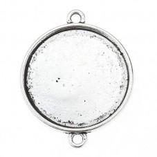4 Supports Connecteur Argenté pour Cabochon 20mm pour la Création de Bijoux Fantaisie - DIY