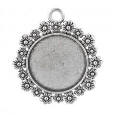 Support Pendentif Argenté pour Cabochon 20mm pour la Création de Bijoux Fantaisie - DIY