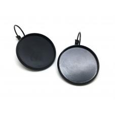 1 Paire de Support Boucle d'Oreille Noire pour Cabochon 25mm pour la Création de Bijoux Fantaisie - DIY