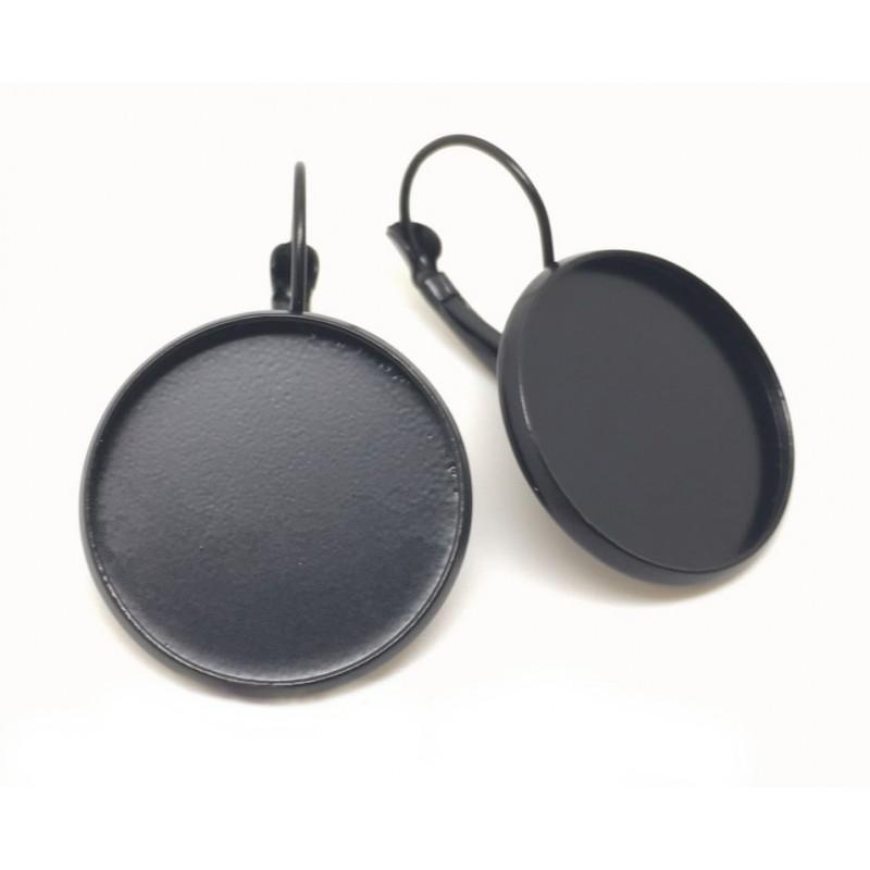 1 Paire de Support Boucle d'Oreille Noire pour Cabochon 20mm