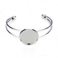 Support Bracelet Argenté Ajustable pour Cabochon 25mm pour la Création de Bijoux Fantaisie - DIY
