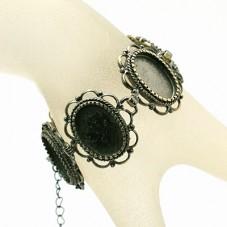 Support Bracelet Bronze pour Cabochon 13x18mm pour la Création de Bijoux Fantaisie - DIY