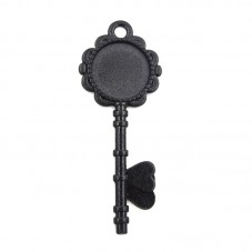 Support Pendentif Clé Noir pour Cabochon 20mm
