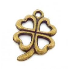 5 Breloques Trèfle à Quatre Feuille Bronze 14x13mm pour la Création de Bijoux Fantaisie - DIY