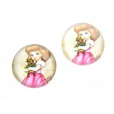 2 Cabochons en Verre Illustrés Princesse 12mm