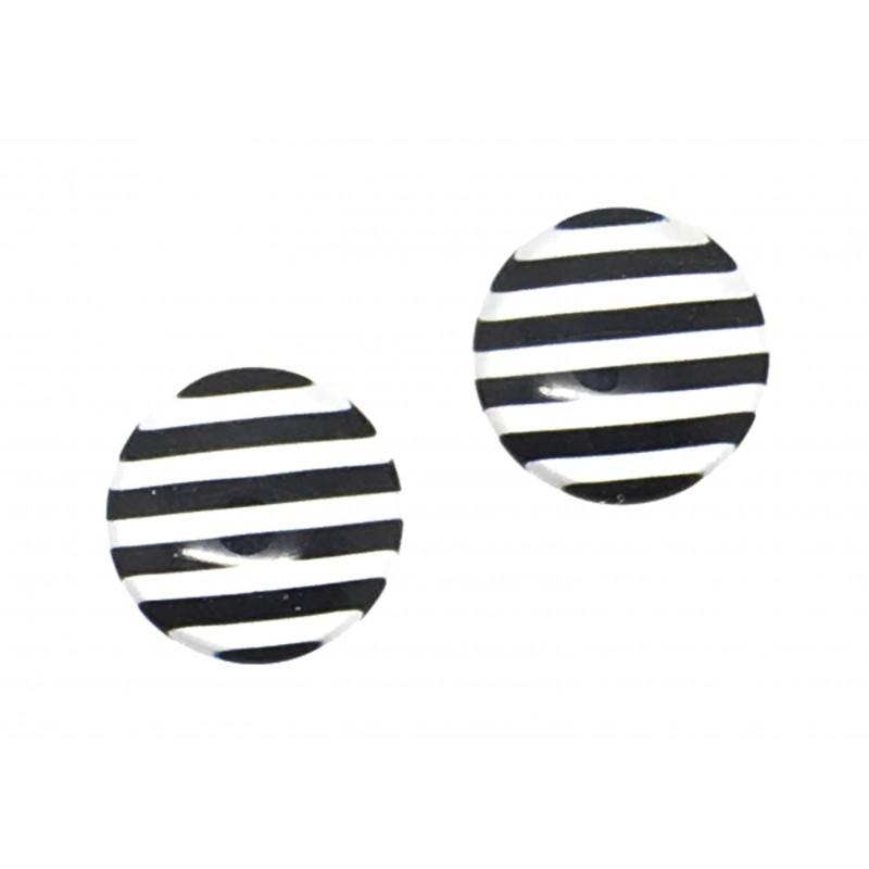 2 cabochons en verre illustr s rayure noir et blanc 12mm. Black Bedroom Furniture Sets. Home Design Ideas