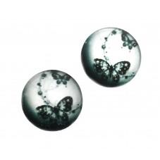 2 Cabochons en Verre Illustrés Papillon Noir et Blanc 12mm