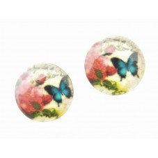 2 Cabochons en Verre Illustré Papillon 12mm