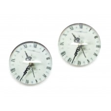 2 Cabochons en Verre Illustrés Horloge 12mm pour la Création de Bijoux Fantaisie - DIY