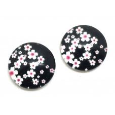 2 Cabochons en Verre Illustrés Fleurs Japonaises 12mm pour la Création de Bijoux Fantaisie - DIY