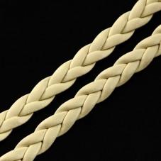1 Mètre de Cordon Cuir Véritable Tressé Beige 5mm pour la Création de Bijoux Fantaisie - DIY
