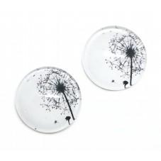 2 Cabochons en Verre Illustrés Fleur Pissenlit 12mm pour la Création de Bijoux Fantaisie - DIY