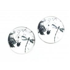 2 Cabochons en Verre Illustrés Libellule Pissenlit Noir et Blanc 12mm pour la Création de Bijoux Fantaisie - DIY