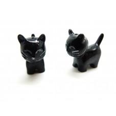 Cabochon Chat Noir Miniature en Résine pour Globe19x23mm
