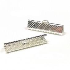 5 Embouts Pinces Griffes Attaches Argentés pour Ruban 22mm pour la Création de Bijoux Fantaisie - DIY